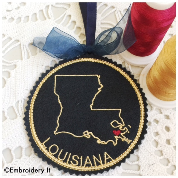 I heart Louisiana Embroidery design