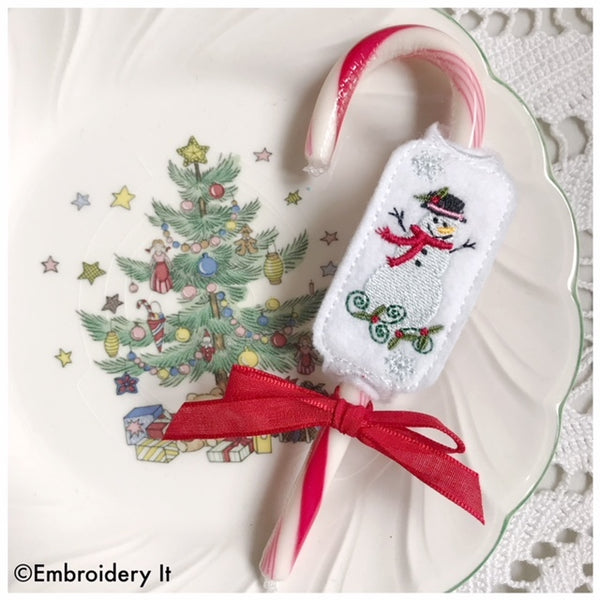 candy cane snowman candy holder in the hoop embroidery pattern