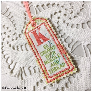 Machine Embroidery Alphabet in the hoop bookmark