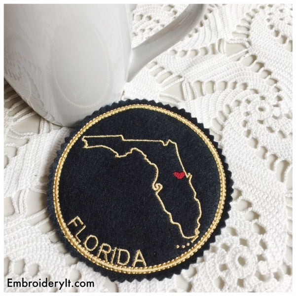 Machine embroidery Florida coaster