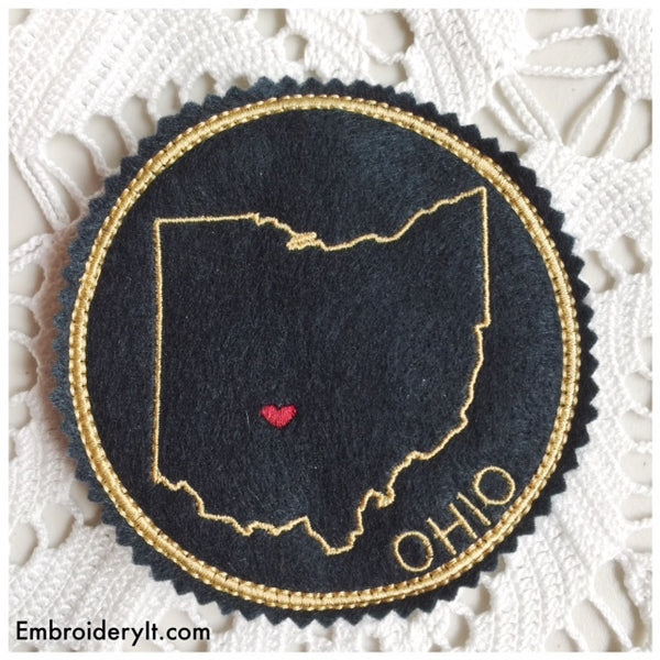 Ohio machine embroidery in the hoop coaster pattern
