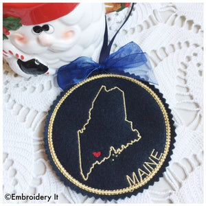 I heart Maine Embroidery design