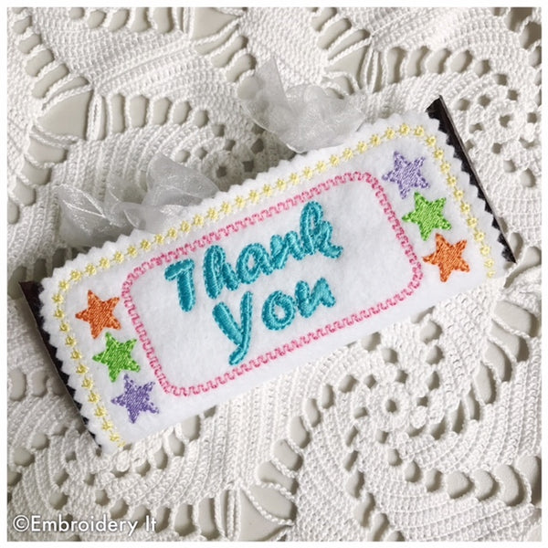 Thank you candy wrapper machine embroidery design