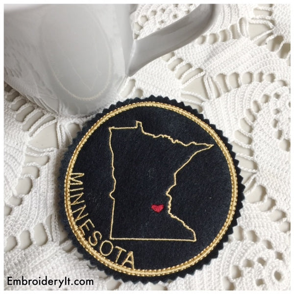 Machine embroidery Minnesota coaster