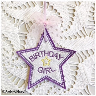 in the hoop applique birthday girl machine embroidery pattern