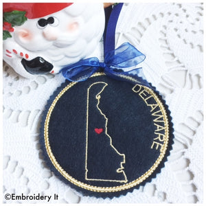 Machine Embroidery Delaware coaster