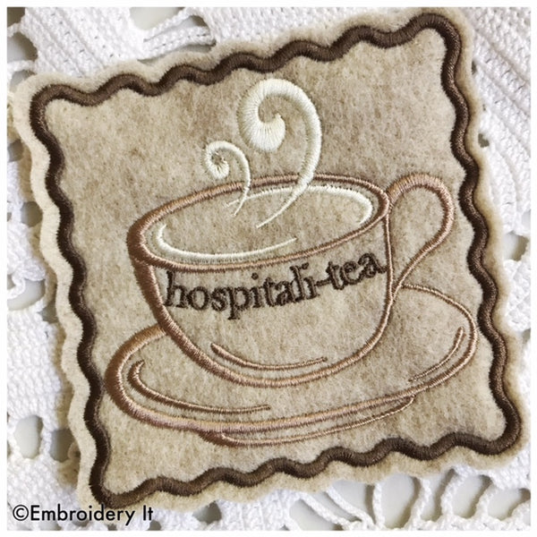 machine embroidery in the hoop coffee cup