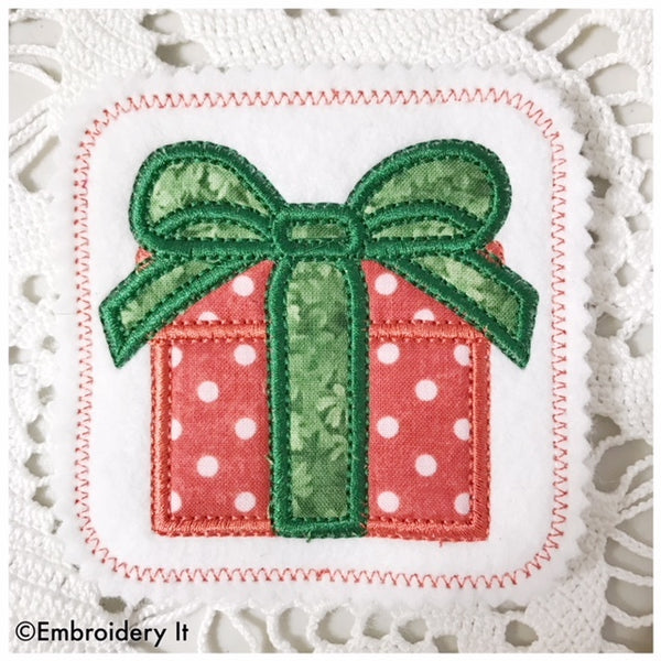 present coaster machine embroidery applique in the hoop design