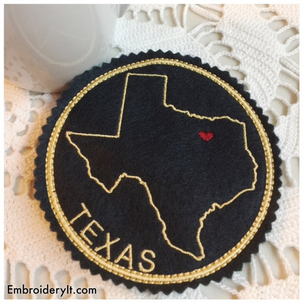 in the hoop machine embroidery Texas Coaster design