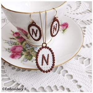 FSL necklace and earrings machine embroidery designs
