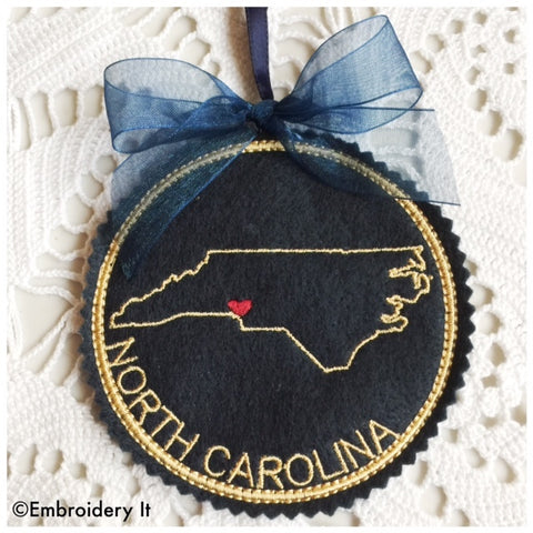 North Carolina in the hoop machine embroidery Christmas ornament design