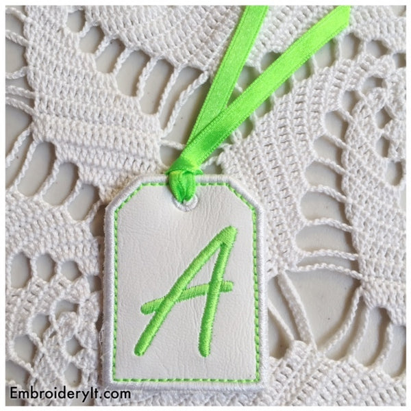 in the hoop machine embroidery tag font project