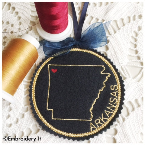 Machine embroidery Arkansas coaster
