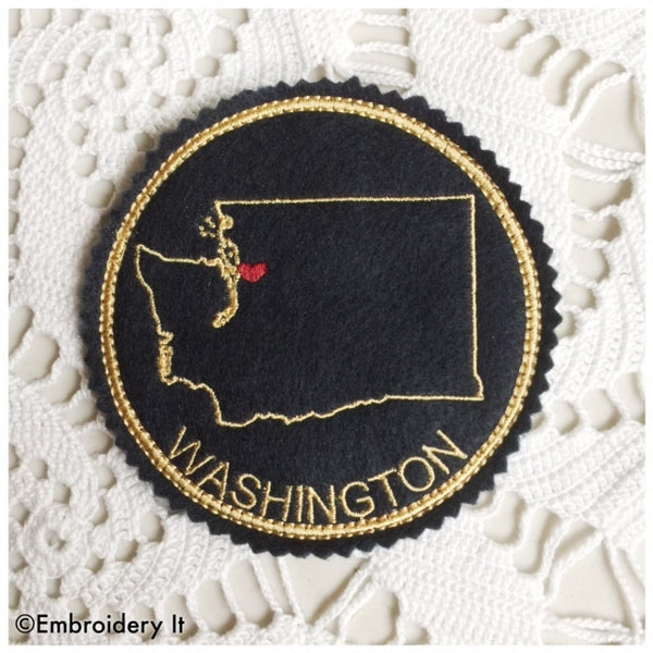 Washington state coaster in the hoop machine embroidery design