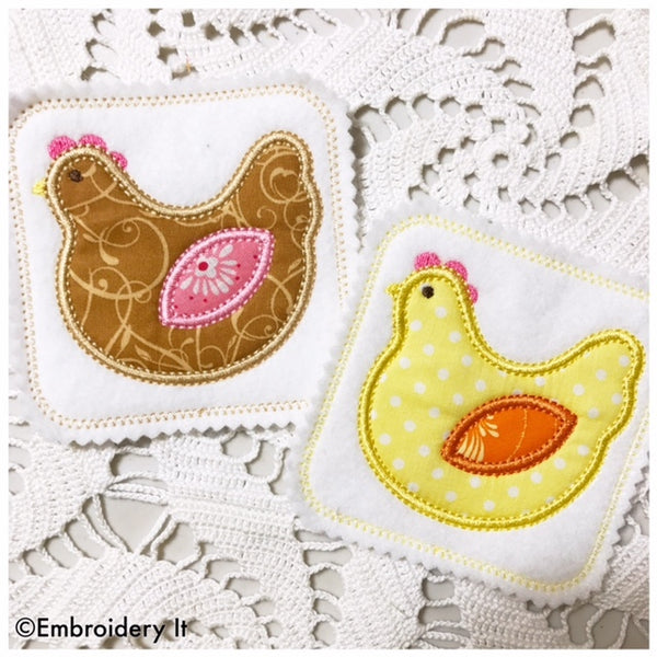 applique coaster in the hoop chicken machine embroidery design