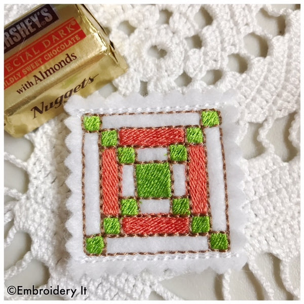 in the hoop machine embroidery quilt block candy holders
