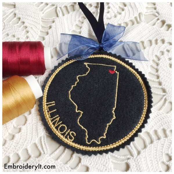 I heart Illinois Embroidery design