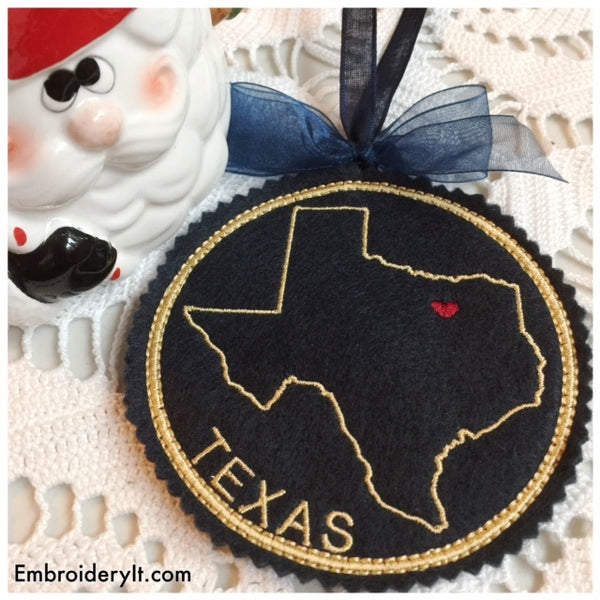 Texas Christmas ornament in the hoop machine embroidery pattern