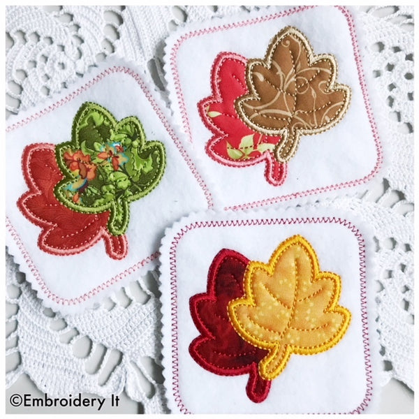 Maple leaf machine embroidery coaster design using applique