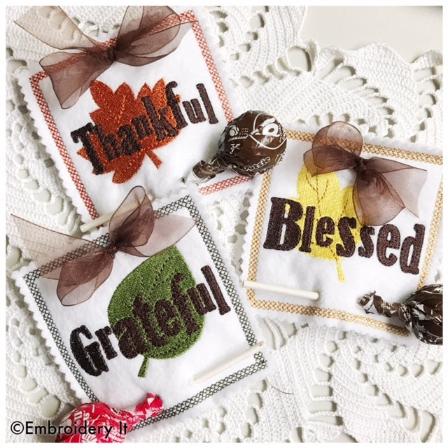 thankful, grateful, blessed lollipop holders machine embroidery designs