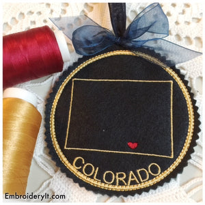 Machine embroidery Colorado coaster