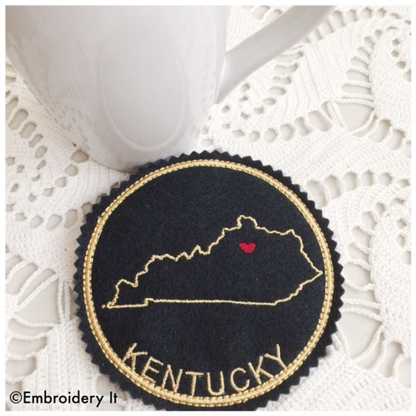 machine embroidery Kentucky coaster