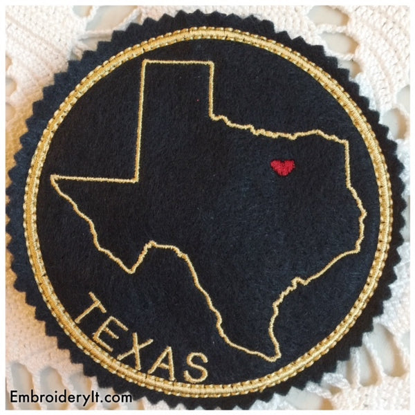 machine embroidery in the hoop Texas coaster pattern