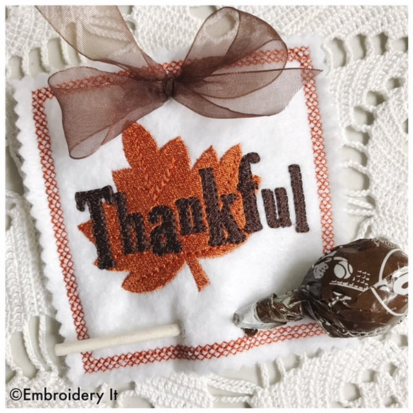 machine embroidery thankful in the hoop sucker holder