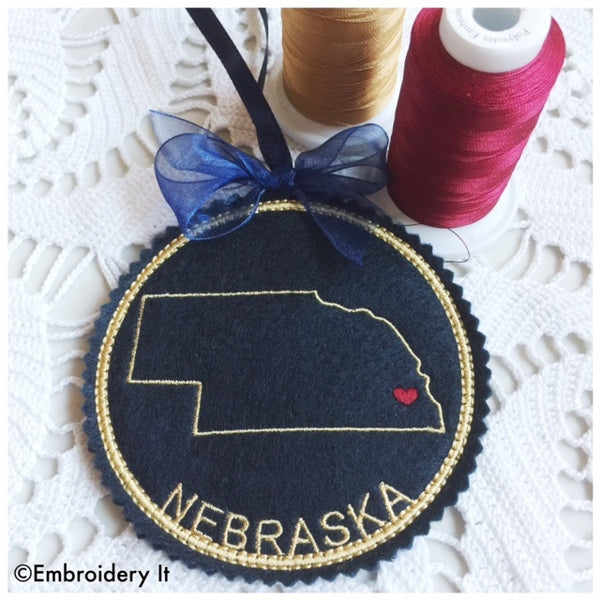 I heart Nebraska embroidery design