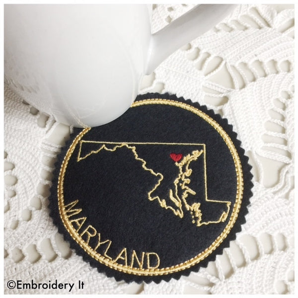 Machine embroidery Maryland coaster