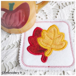 Maple leaf applique coaster machine embroidery design