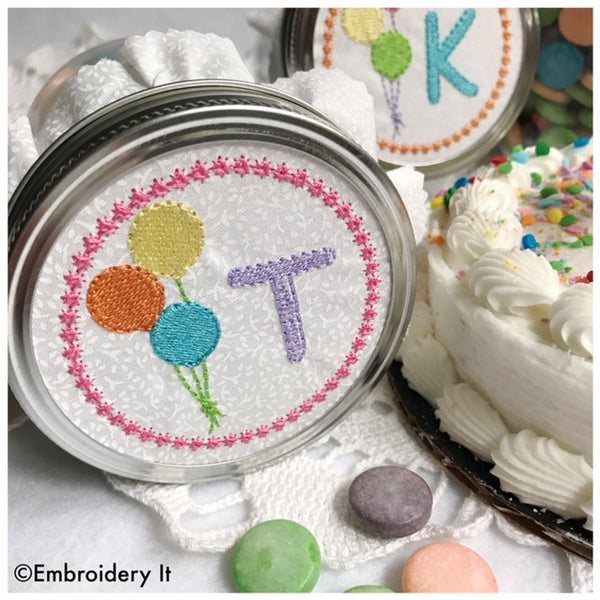 Machine embroidery alphabet set to fit a mason jar lid