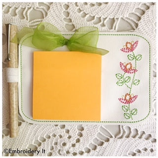 Machine embroidery floral notepad holder