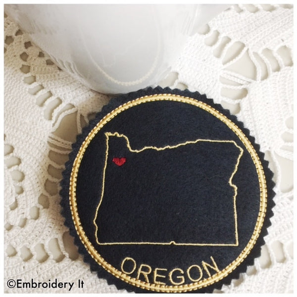 Oregon coaster machine embroidery in the hoop design