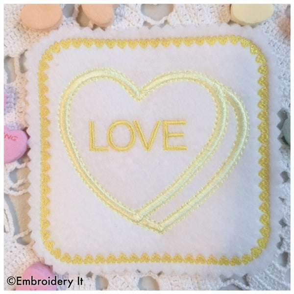 in the hoop machine embroidery candy hearts designs
