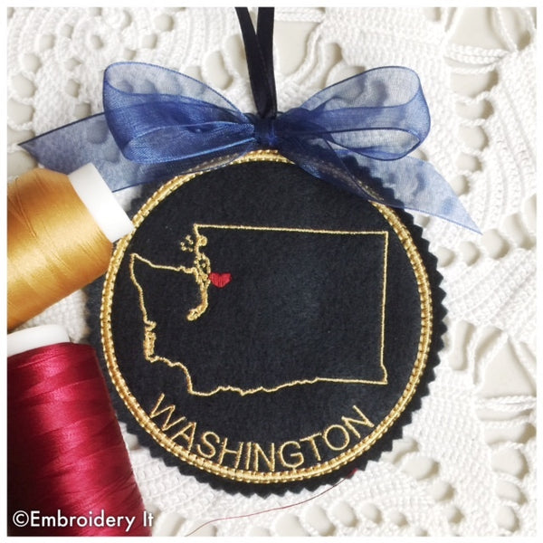 In the hoop machine embroidery Washington Christmas ornament