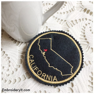 Machine embroidery California coaster