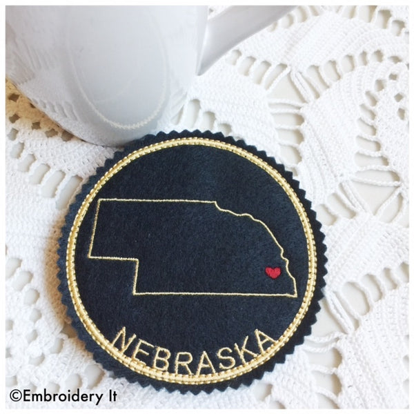 machine embroidery Nebraska coaster