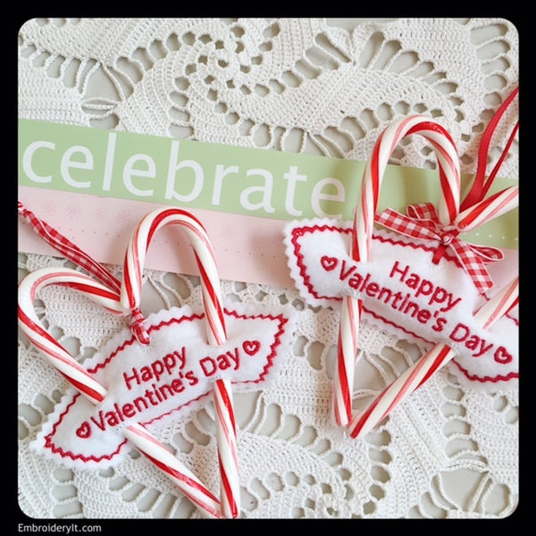 in the hoop machine embroidery valentine's day candy cane holder