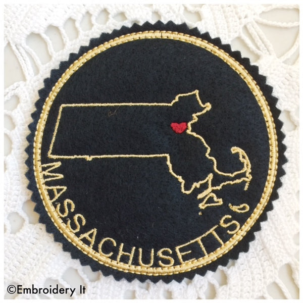 machine embroidery Massachusetts coaster design