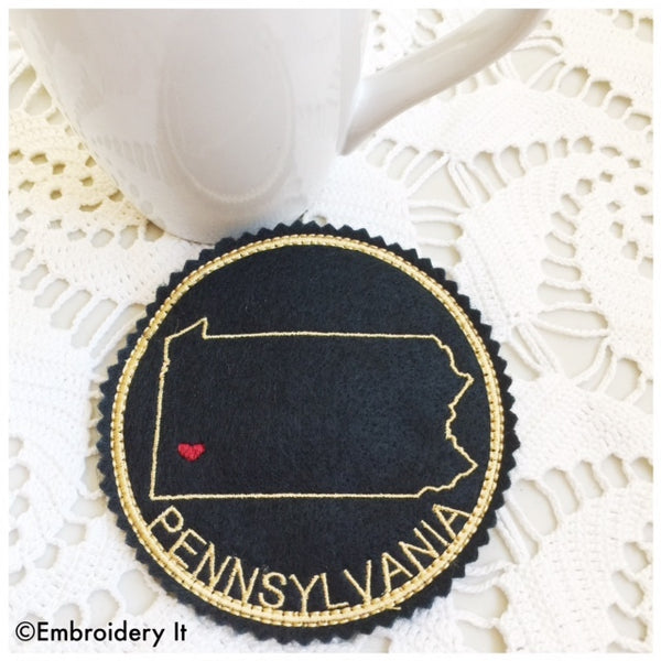 Machine embroidery in the hoop Pennsylvania coaster
