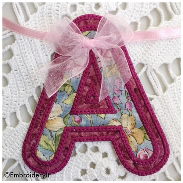 Machine Embroidery Applique Banner Letter