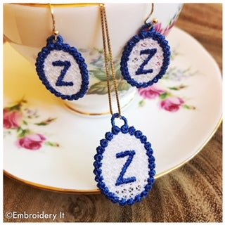 free standing lace alphabet jewelry