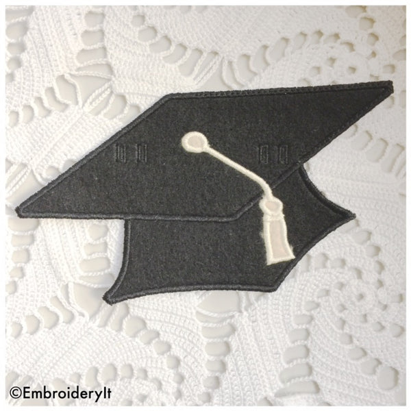 Machine embroidery graduation cap in the hoop design