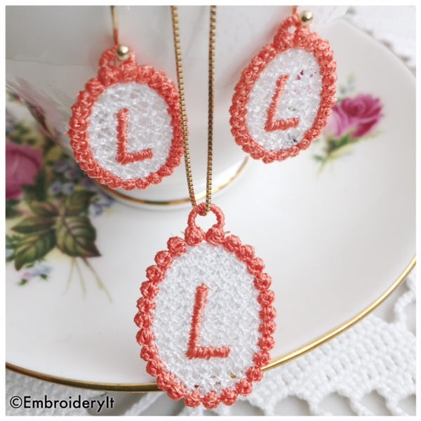 Free Standing Lace monogram jewelry set