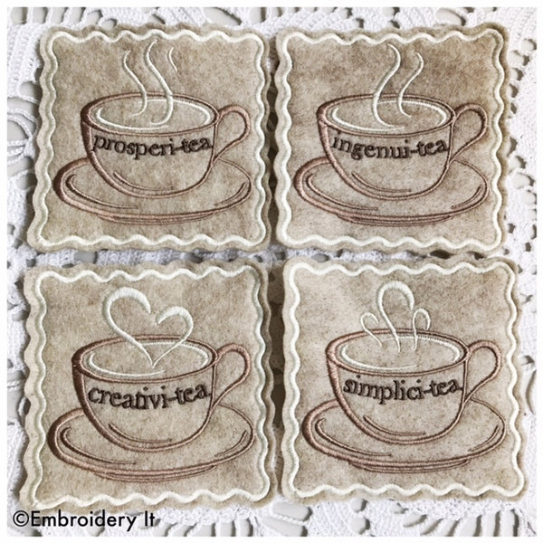 Inspirational coffee cup in the hoop machine embroidery designs