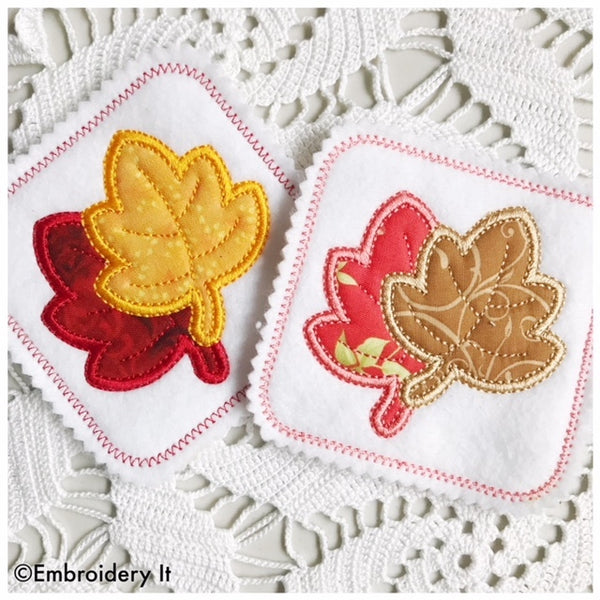 applique maple leaf coaster machine embroidery pattern