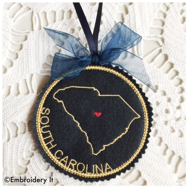 Machine embroidery South Carolina in the hoop Christmas ornament