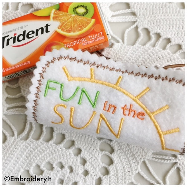 machine embroidery in the hoop summer candy wrapper set