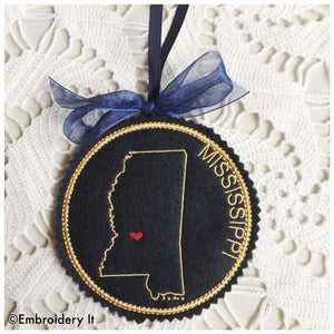 I heart Mississippi machine embroidery design